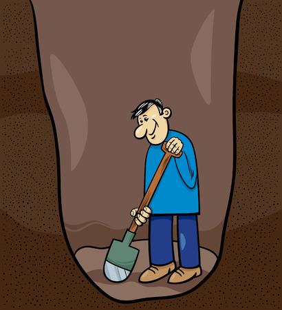 digging: Cartoon Illustration of Funny Man Digging a Big Hole