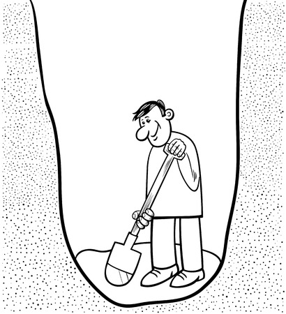digging: Black and White Cartoon Illustration of Funny Man Digging a Big Hole for Coloring Book