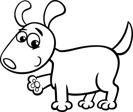cute cartoon dog: Black and White Cartoon Illustration of Cute Little Dog or Puppy for Coloring Book