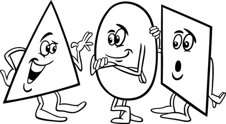 Black and White Cartoon Illustration of Funny Triangle Circle and Square Basic Geometric Shapes Talking for Coloring Book Vector