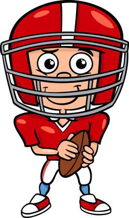 Cartoon Illustration of Funny Boy American Football Player with Ball