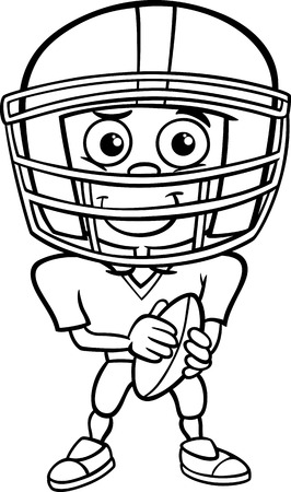 Black and White Cartoon Illustration of Funny Boy American Football Player with Ball for Coloring Book Vector