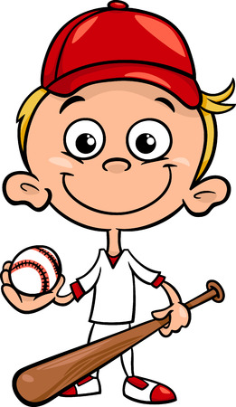 Cartoon Illustration of Funny Boy Baseball Player with Bat and Ball