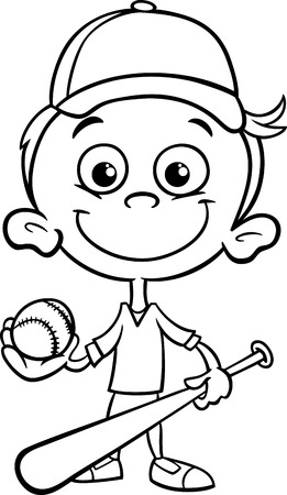 Black and White Cartoon Illustration of Funny Boy Baseball Player with Bat and Ball for Coloring Book Illustration