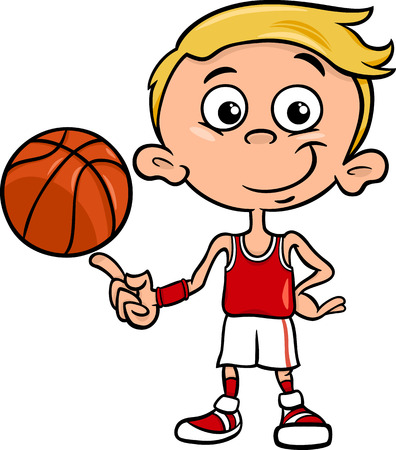 Cartoon Illustration of Funny Boy Basketball Player with Ball