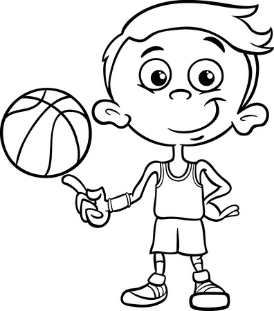 Black and White Cartoon Illustration of Funny Boy Basketball Player with Ball for Coloring Book