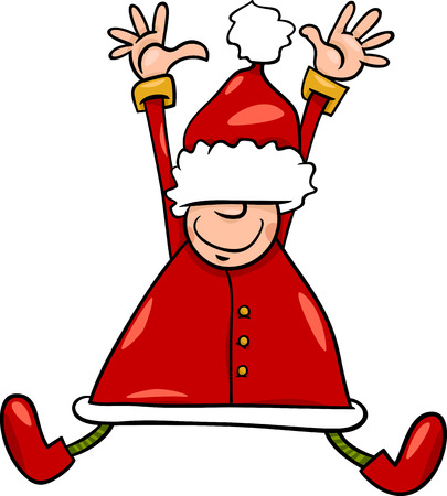 papa noel: Cartoon Illustration of Happy Jumping Santa Claus or Elf Character Illustration