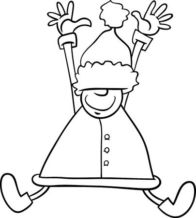 Black and White Cartoon Illustration of Happy Jumping Santa Claus or Elf Character for Coloring Book Vector