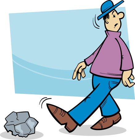 clumsy: Cartoon Illustration of Funny Inattentive Man Going to Stumble on a Stone Illustration