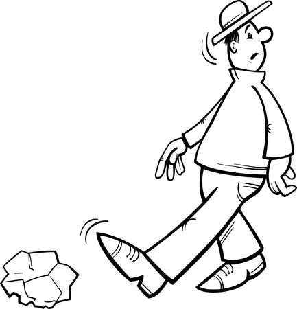 inattentive: Black and White Cartoon Illustration of Funny Inattentive Man Going to Stumble on a Stone for Coloring Book