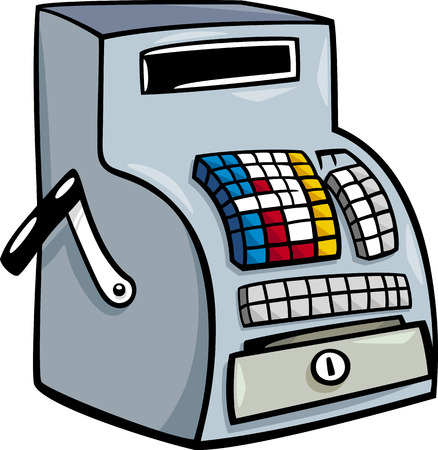 Cartoon Illustration of Old Till or Cash Register Clip Art Ilustração