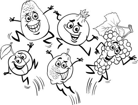 Schwarz Und Weiß Karikatur Illustration Von Obst Lebensmittel ...