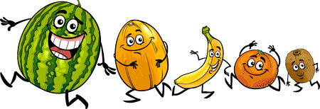 Cartoon Illustration of Funny Running Fruits Food Characters Vector