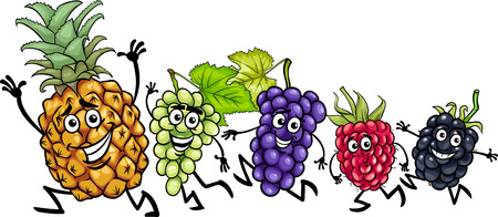 Cartoon Illustration of Running Fruits Food Characters Vector