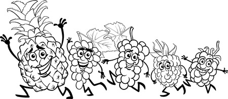 Black and White Cartoon Illustration of Running Fruits Food Characters for Coloring Book Vector