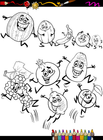 Coloring Book or Page Cartoon Illustration of Black and White Funny Fruits Set for Children Vector