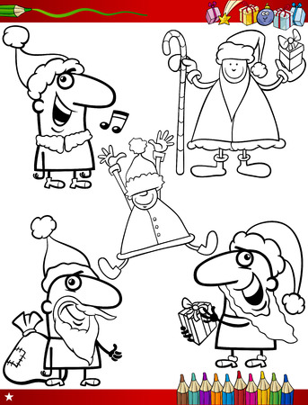 Coloring Book Cartoon Illustration of Black and White Christmas Themes Set with Santa Claus and Pretty Girl Vector