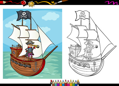 Coloring Book or Page Cartoon Illustration of Black and White Pirate Captain with Spyglass and Ship with Jolly Roger Flag for Children