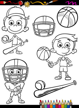 Coloring Book or Page Cartoon Illustration of Black and White Boy Kid Playing Baseball and Basketball and American Football Set for Children Vector