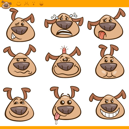 bump: Cartoon Illustration of Funny Dogs Expressing Emotions or Emoticons Set