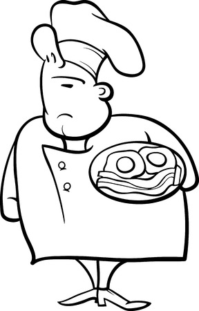 master page: Black and White Cartoon Illustration of Funny English Chef or Cook with Bacon and Eggs for Coloring Book