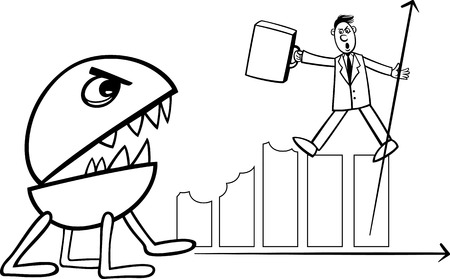 Black and White Concept Cartoon Illustration of Businessman Fighting with Recession Monster