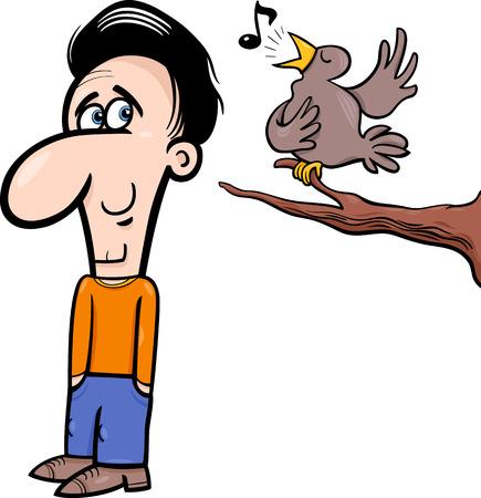 optimist: Cartoon Illustration of Happy Man Character Listening to Singing Bird Illustration
