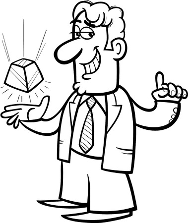 new technology: Black and White Cartoon Illustration of Man or Businessman Doing a Presentation of New Technology Gadget for Coloring Book Illustration