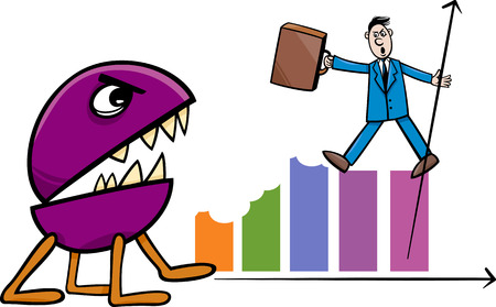 Concept Cartoon Illustration of Businessman Fighting with Recession Monster