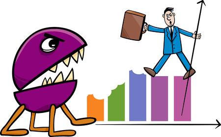 d�vorer: Concept Illustration de bande dessin�e d'affaires battre avec la r�cession monstre