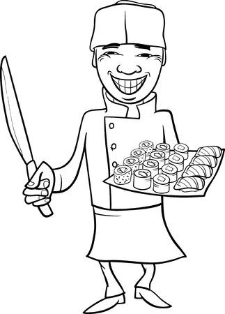 Schwarz Und Weiß Karikatur Illustration Von Sushi-Essen Essen ...