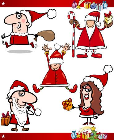 papa noel navidad: Ilustraci�n de dibujos animados de Santa Claus o Pap� Noel, regalos, regalos y otros motivos navide�os establecer Vectores