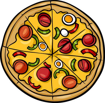 イタリアのピザ料理オブジェクトの漫画イラスト