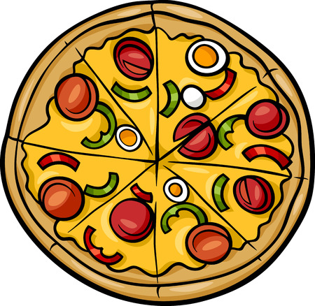 Cartoon Illustratie van de Italiaanse Pizza Eten Object Stock Illustratie
