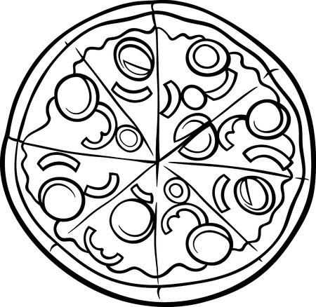 Negro y dibujos animados de blanco Ilustración de pizza italiana Objeto Alimentos para Coloring Book