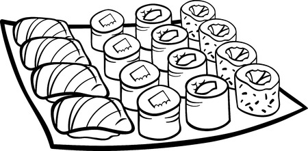 asian foods: Black and White Cartoon Illustration of Sushi Meal Food Objects for Coloring Book