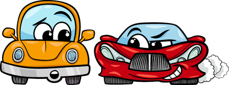 malicious: Cartoon Illustration of Malicious Sports Car and Retro Automobile Illustration