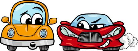 Cartoon Illustration of Malicious Sports Car and Retro Automobile Illustration