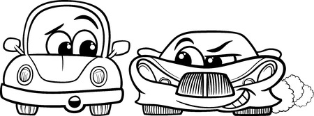 sneer: Black and White Cartoon Illustration of Malicious Sports Car and Retro Automobile for Coloring Book