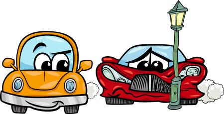 クラッシュしたスポーツ ・ カーとレトロな自動車の漫画イラスト
