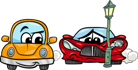 Cartoon Illustration of Crashed Sports Car and Retro Automobile