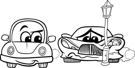 crashed: Black and White Cartoon Illustration of Crashed Sports Car and Retro Automobile for Coloring Book