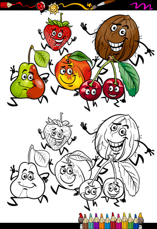 Coloring Book or Page Cartoon Illustration of Black and White Funny Running Fruits Set for Children Vector