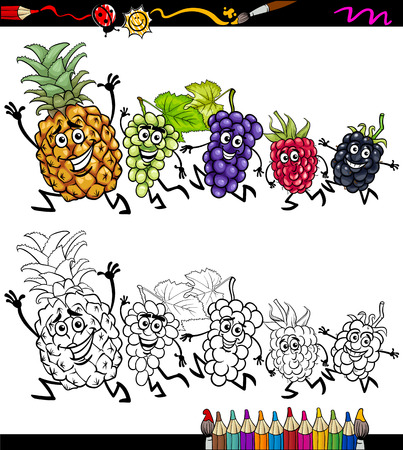 Coloring Book or Page Cartoon Illustration of Black and White Funny Running Fruits for Children Vector