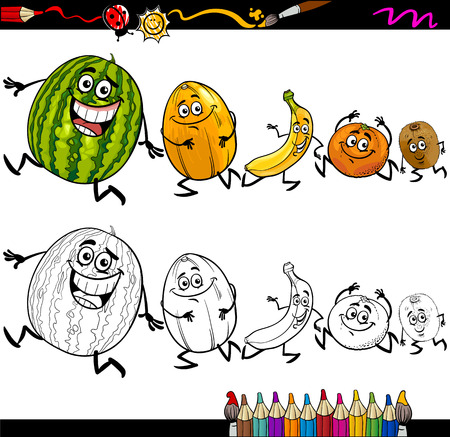 Coloring Book Or Page Cartoon Illustration Of Black And White Funny Running Fruits Group For Children