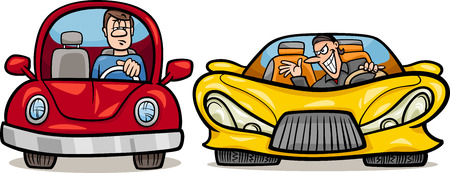 Cartoon Illustration of Man in Retro Automobile and Malicious Driver in Sports Car
