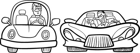 Black And White Cartoon Illustration Of Man In Old Car Another Sports One For
