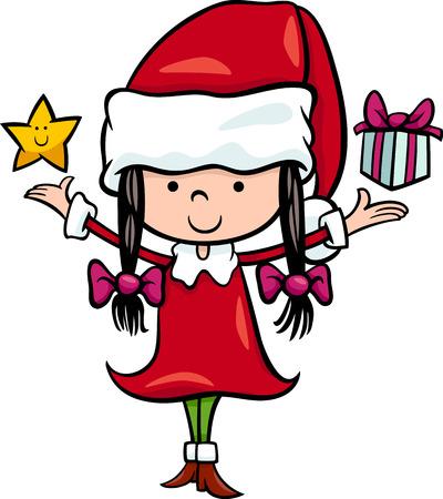 santa girl: Cartoon Illustration of Santa Claus Girl Character with Christmas Star and Present