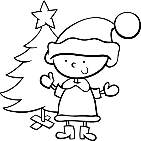 Black and White Cartoon Illustration of Santa Claus Boy Character with Christmas Tree for Coloring Book Vector