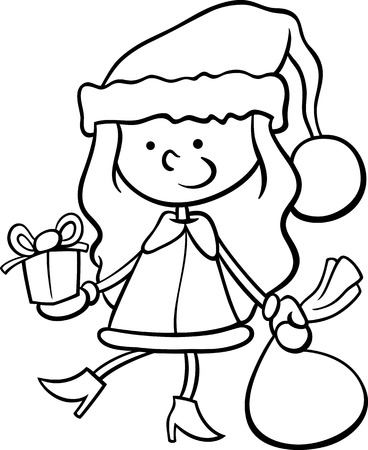 Black and White Cartoon Illustration of Santa Claus Girl Character with Christmas Present and Bag of Gifts for Coloring Book Vector